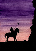Native American Watercolor Paintings - Native American Warrior on Horseback by Michael Vigliotti