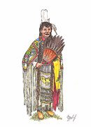 Native Americans Drawings Posters - Native American Woman Poster by Lew Davis