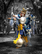 Descendants Framed Prints - Native Dance Blue and Gold Framed Print by Dawn Currie