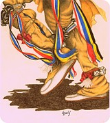 Color Pencil Drawings - Native Dancers Feet 1A by Lew Davis