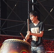 Native Drummer Performs In Taiwan Print by Yali Shi