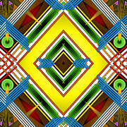 Kaleidoscope Digital Art - Native Weave Life by Mario Carini