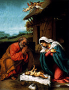 Manger Mixed Media Posters - Nativity Poster by Lorenzo Lotto