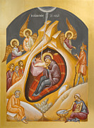 Byzantine Painting Posters - Nativity of Christ Poster by Julia Bridget Hayes