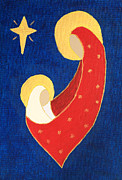 Gold Star Mother Posters - Nativity on Blue Poster by Pattie Calfy