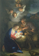 Nativity Painting Metal Prints - Nativity Scene Metal Print by Anton Raphael Mengs
