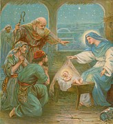 Christmas Cards Prints - Nativity Scene Print by English School