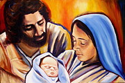 Acrylics Painting Prints - Nativity Print by Sheila Diemert