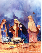 Religious Art Painting Posters - Nativity Poster by Suzy Pal Powell