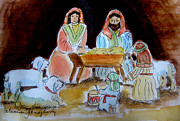 Januszkiewicz Prints - Nativity with Little Drummer Boy Print by Patricia Januszkiewicz