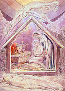 Angels Drawings Prints - Nativity with Two Angels Print by Munir Alawi