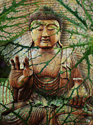 Natural Buddha Mixed Media Prints - Natural Nirvana Print by Christopher Beikmann