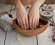 Mythja Posters - Natural spa manicure  setting Poster by Mythja  Photography