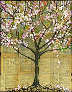 Blossoms Mixed Media Prints - Nature Art Landscape - Lexicon Tree Print by Blenda Tyvoll
