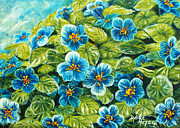 Impressionistic  On Canvas Paintings - Nature Blue Flowers Original Painting Oil on Canvas by Drinka Mercep