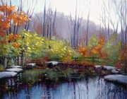 Stepping Stones Prints - Nature Center Pond at Warner Park in Autumn Print by Janet King