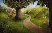 Easter Mixed Media Posters - Nature design - apple orchard Poster by Nikolina Petolas