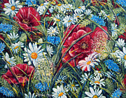 Impressionistic  On Canvas Paintings - Nature Flowers Poppies and Daisies No.5 by Drinka Mercep