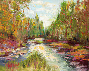 Fishing Creek Prints - Nature in Color- Palette Knife Oil Painting  By Artist Joe Byrd Print by Joe Byrd