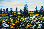 Impressionistic  On Canvas Paintings - Nature Landscape Field Flowers Pines Art  by Drinka Mercep