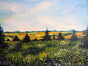 Impressionistic  On Canvas Paintings - Nature Landscape Sky Mountains Pines Grass and Flowers by Drinka Mercep