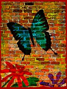 Blue Brick Mixed Media Prints - Nature On The Wall Print by Leanne Seymour