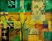 Collages Prints - Nature Patchwork Print by Ann Powell