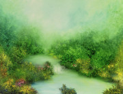 Waterfall Painting Posters - Nature Symphony Poster by Hannibal Mane