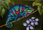 Chameleon Paintings - Nature Watching Nature 3 by Sandra Scheetz-Wise