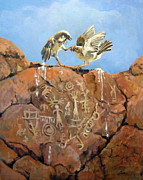 Hieroglyphics Paintings - Natures Fury by Donna Tucker