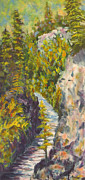 Beautiful Creek Painting Originals - Natures Golden view by Kristos Raftopoulos