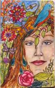 Sketchbook Mixed Media Prints - Natures Healing Print by Linda Marcille