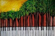 Piano Keys Painting Originals - Natures Music by Linda Waidelich