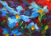 Painterly Painting Prints - Natures Palette - Himalayan blue poppy oil painting Meconopsis betonicifoliae Print by Talya Johnson