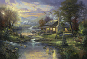 Mountain Cabin Painting Framed Prints - Natures Paradise Framed Print by Thomas Kinkade