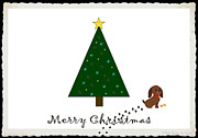 Susan M. Smith Prints - Naught Dog Merry Christmas Print by Susan Smith
