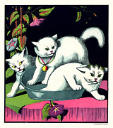 Naughty Cats Play In Tub On Table With Morning Glories Print by Pierpont Bay Archives