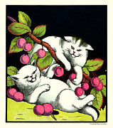 Naughty Cats Play With Cherries  Print by Pierpont Bay Archives