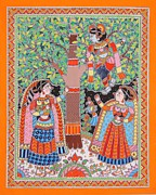Tribal Art Paintings - Naughty Krishna by Sonal Verma