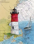 Massachusetts Coast Paintings - Nauset Beach Lighthouse MA Nautical Chart Map Art Cathy Peek by Cathy Peek