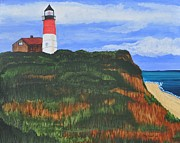 Massachusetts Coast Paintings - Nauset Beach Lighthouse by Sally Rice