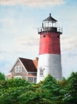 Lighthouse Paintings - Nauset Beach Memories Watercolor Painting by Michelle Wiarda