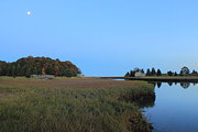 Marsh Prints - Nauset Marsh Autumn Moon Print by John Burk