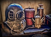 Brass Helmet Posters - Nautical - Antique Dive Helmet Poster by Paul Ward