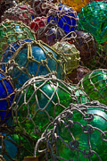 Apalachicola Prints - Nautical Art - Glass Fishing Net Floats Print by Bill Swindaman