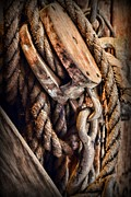 Hoist Photo Framed Prints - Nautical - Boat - Block and Tackle with Rope Framed Print by Paul Ward