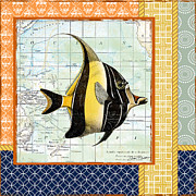 Sea Shell Digital Art Posters - Nautical Journey-Angel Fish Poster by Jean Plout