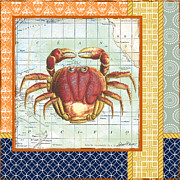 Sea Shell Digital Art Posters - Nautical Journey-Crab Poster by Jean Plout