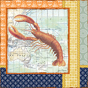 Sea Shell Digital Art Posters - Nautical Journey-Lobster Poster by Jean Plout