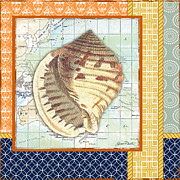 Sea Shell Digital Art Posters - Nautical Journey-Shell A Poster by Jean Plout